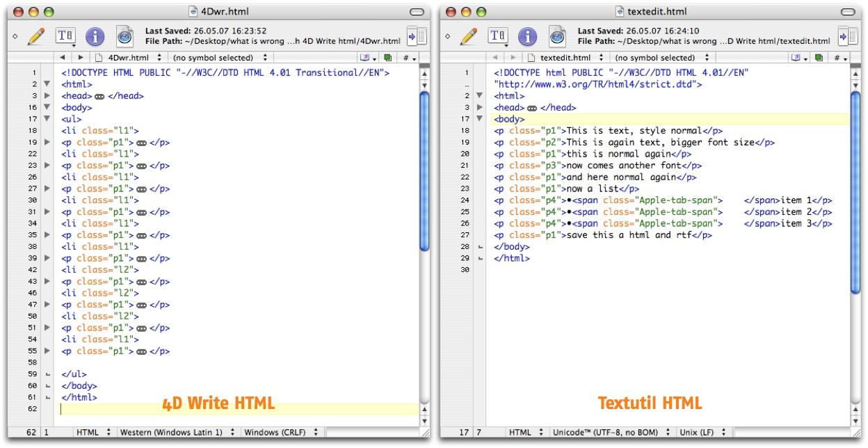 links ist das html erzeugt aus 4d write und teils eingeklappt um zu verdeutlichen was nicht stimmt es sieht aus wie html ist aber keines