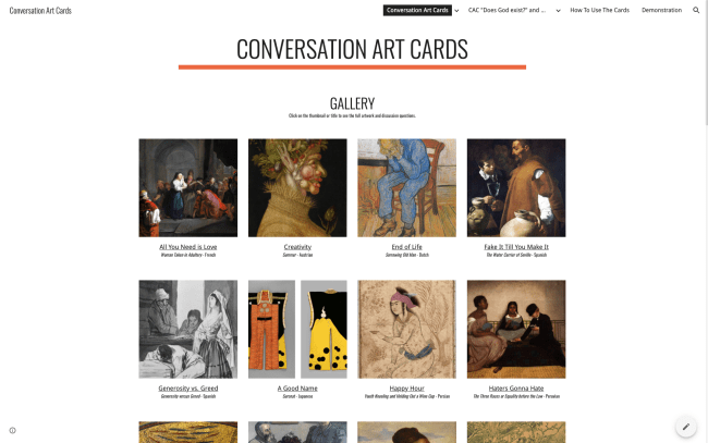 The Conversation Art Cards website.