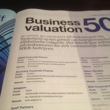 50 bedrijven die zich bezighouden met bedrijfswaardering