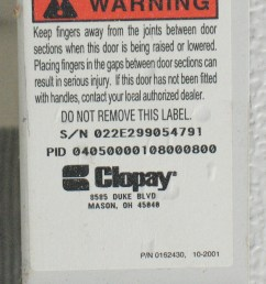 sticker showing clopay serial number sticker showing clopay pid number [ 800 x 1078 Pixel ]