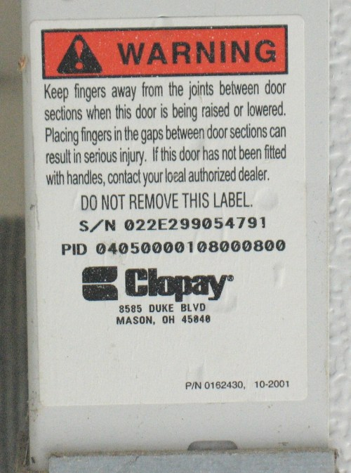 small resolution of sticker showing clopay serial number sticker showing clopay pid number