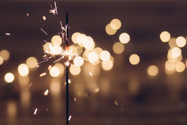 Sparkler lit to ring in the new year