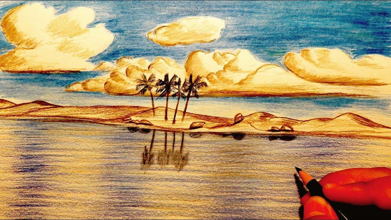 رسم منظر طبيعي مناظر خلابه ترسم باليد