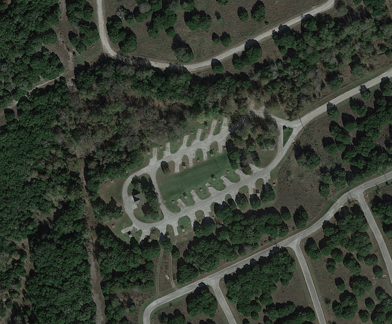 Aerial photo of the Bear Creek RV Camping Area