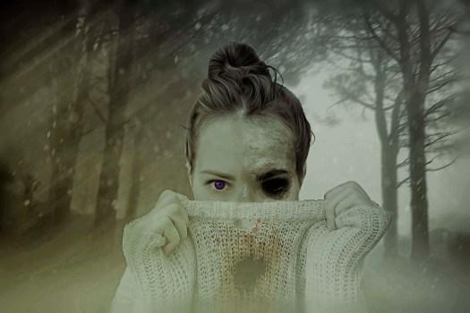 mujer, ojos