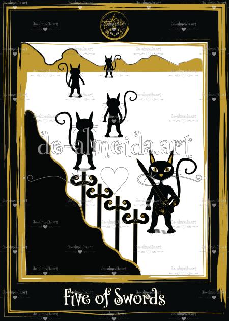 Black cat tarot - Five of Swords