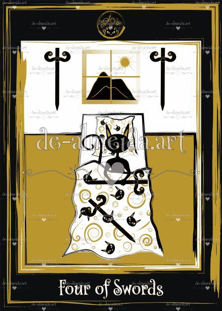 Black cat tarot - Four of Swords