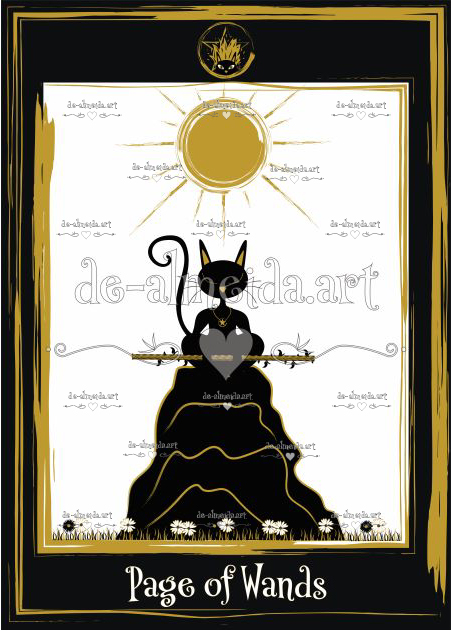 Black cat tarot - Page of Wands