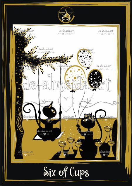 Black cat tarot - Six of Cups
