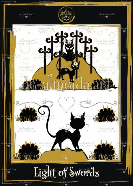 Black cat tarot - Eight of Swords