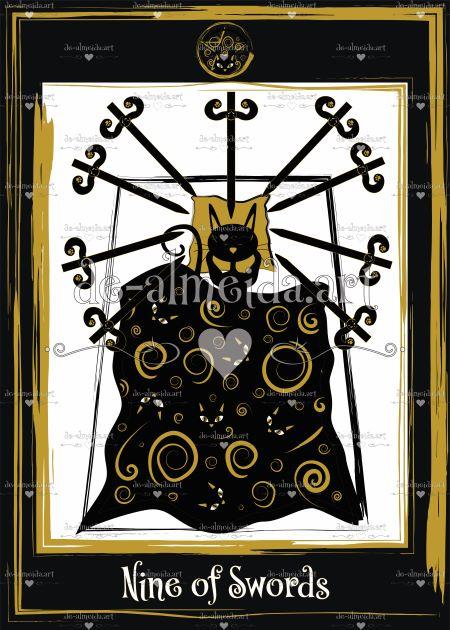 Black cat tarot - Nine of Swords