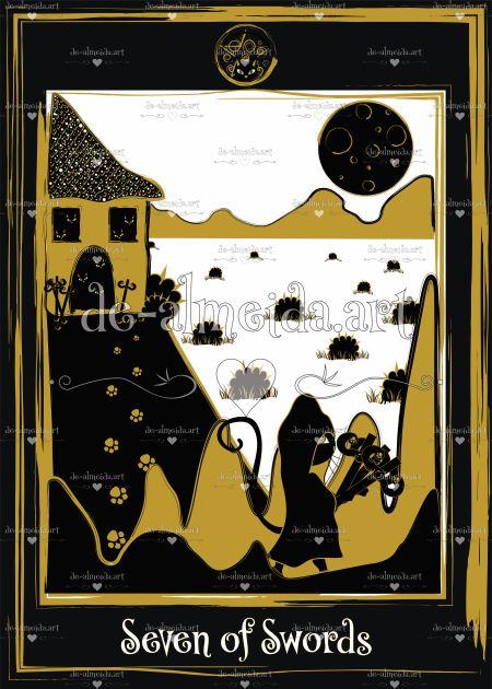 Black cat tarot - Seven of Swords