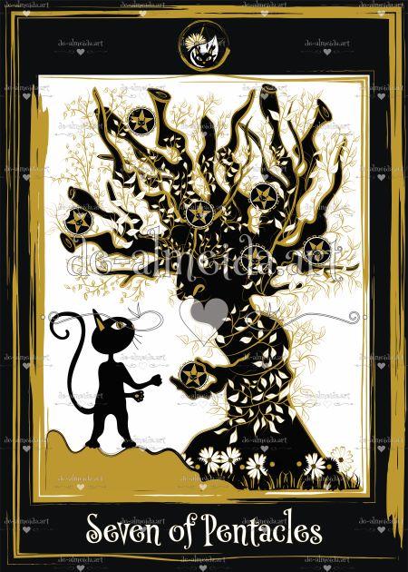 Black cat tarot - Seven of Pentacles