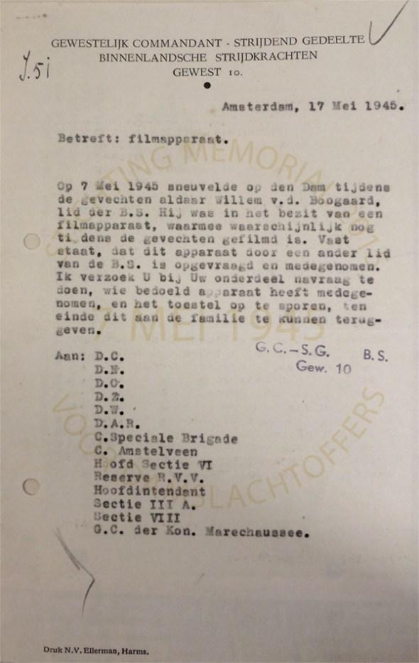 Bron: Nationaal Archief. rapport betreffende vermissing filmcamera van den Boogaard
