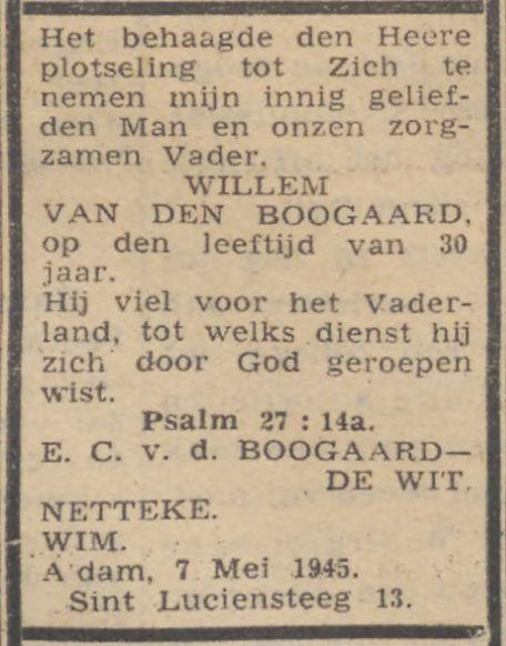 Willem van den Boogaard Trouw 12-05-1945