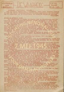 07-05-1945 De Waarheid extra bijlage, landelijk, NIOD coll 556 doos 104, Koninklijke Bibliotheek