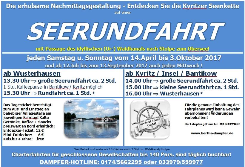 Dampferfahrt Kyritzer Seenkette 2017