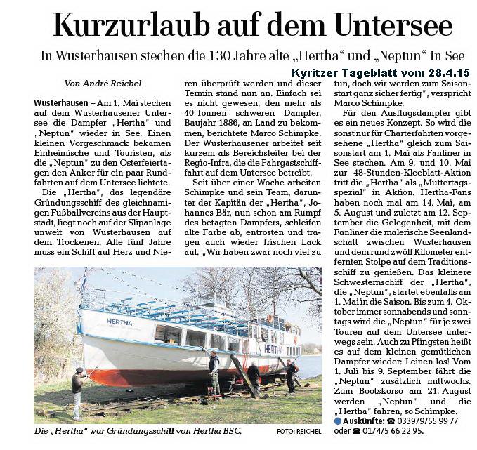 Presse Kyritz zum Saisonstart 2015