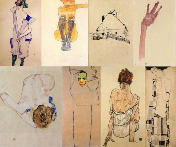 Egon Schiele Line Drawings Woman