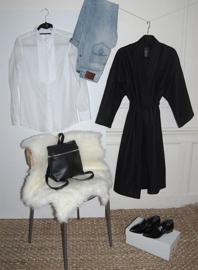 5-piece-french-wardrobe-KARA-backpack-R13-jeans-Proenza-Schouler-loafers-marc-by-+j-tuxedo-shirt-marc-jacobs-kimono--coat-desmitten