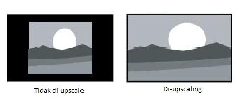 Gambar yang tidak di-upscaling & yang di-upscaling