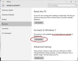 Cara kembali ke windows bersi sebelumnya dari Windows 10