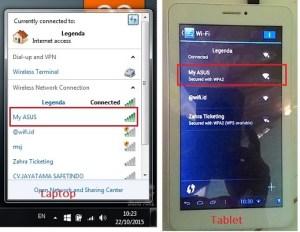 Wi-fi hotspot terdeteksi pada laptop dan tablet