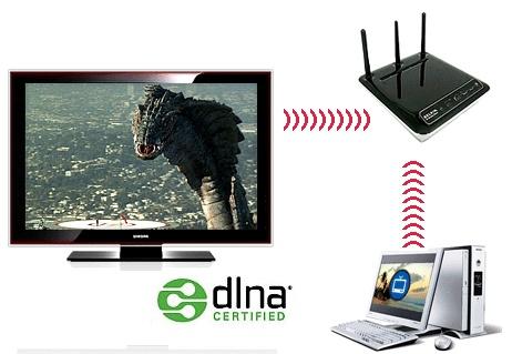Koneksi laptop ke HDTV dengan DLNA