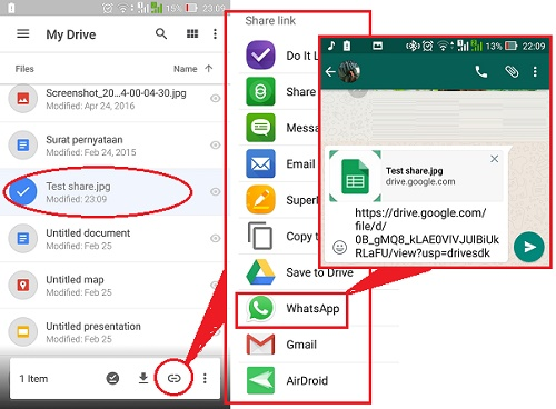 Google Drive-Sharing link-wa