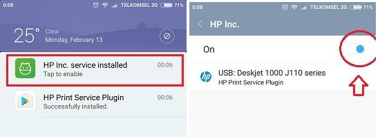 Notifikasi print service plugin - Print via USB OTG