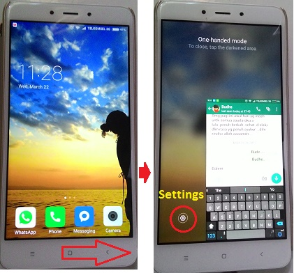 Redmi Note-One handed mode-right