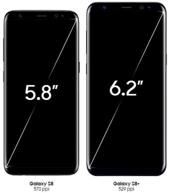 Samsung Galaxy S8 and S8+ screen display
