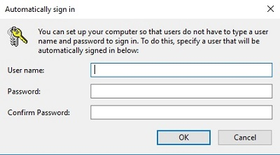 By pass login screen Windows 10 - Auto sign in