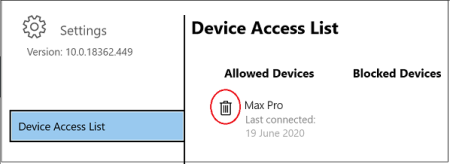 COnnect,devices access list
