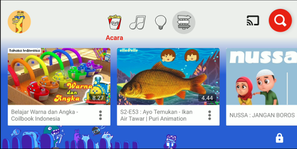 Tampilan halaman depan Youtube Kids
