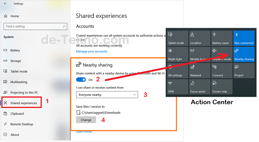 Settings Nearby Sharing - mengirim file sesama Windows