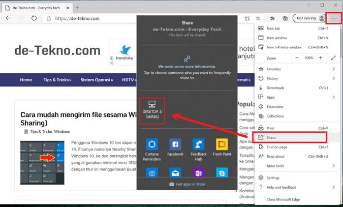 mengirim link ke sesama Windows