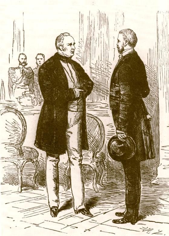 Bismarck und König Friedrich Wilhelm IV. im Jahr 1848 (Zeichnung von Hermann Lüders)