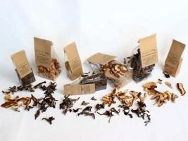 unsere kleinen Pilzverpackungen mit Rezepten hier bei Permakultur-Garten mit Land-Hotel