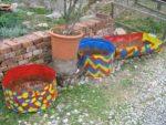 Garten gestalten und viel Geld sparen. 3 leere Fasstoepfe