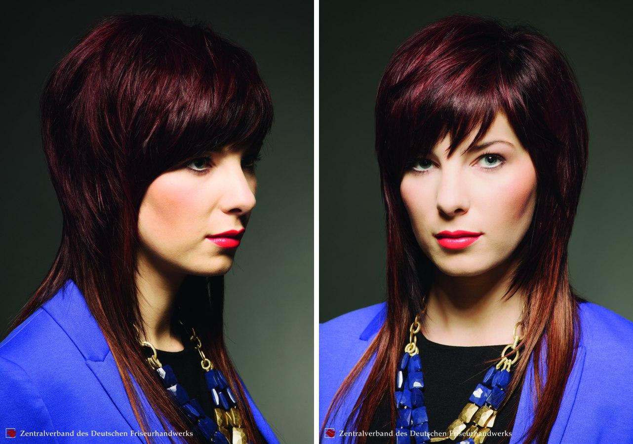 Lange Frisur mit fedrigen Stufen und eng anliegenden Seiten  Haar Extensions