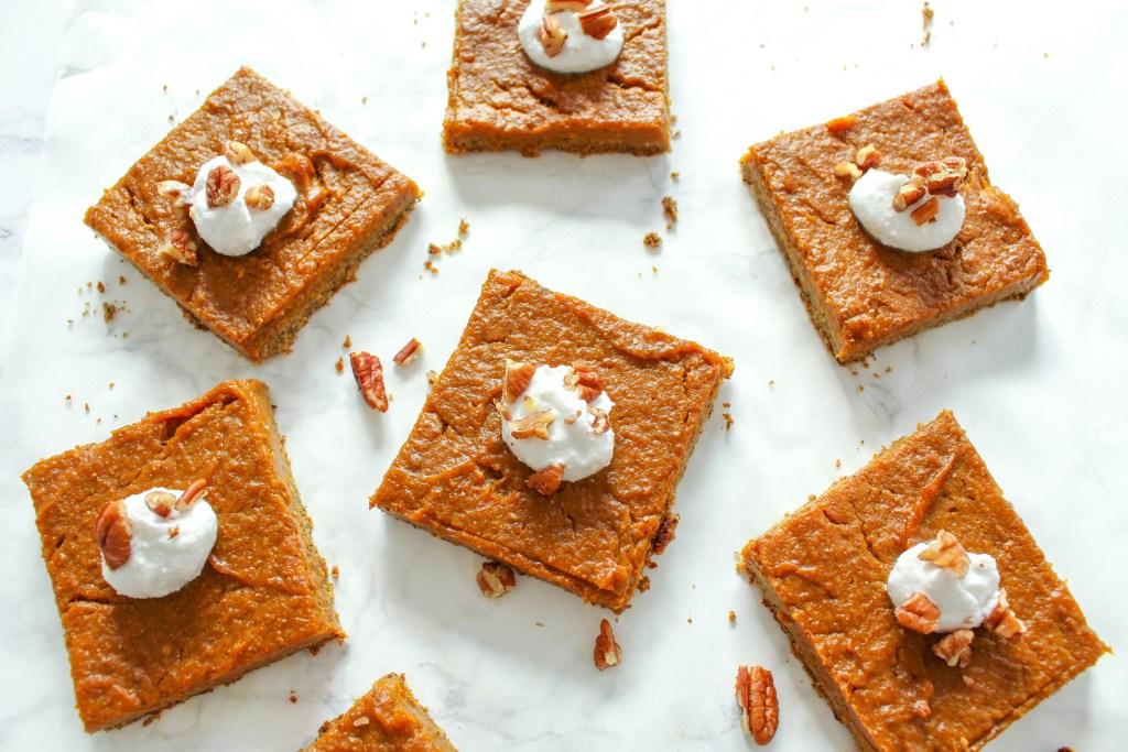 Gesunde Pumpkin Pie Squares - vegan, glutenfrei, ohne raffinierten Zucker