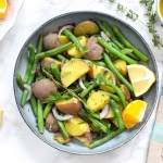 Grüner Bohnensalat mit Kartoffeln und Orangen-Dressing