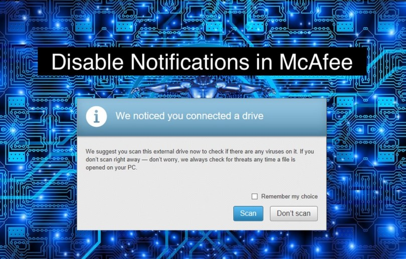 mcafee disable notification