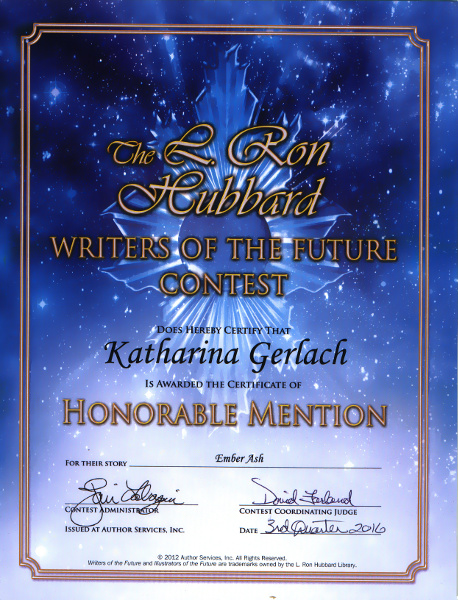 Certificate from Writers of the Future