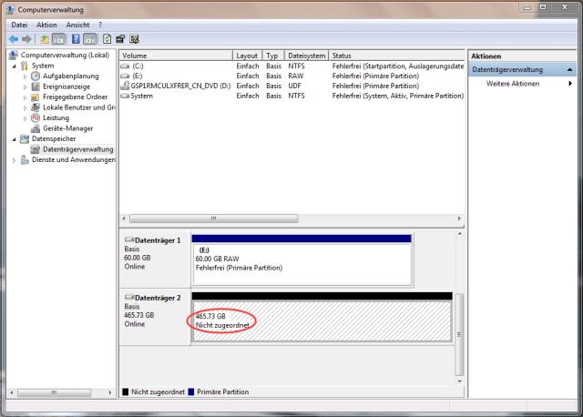 externe Festplatte wird in Datenträgerverwaltung angezeigt