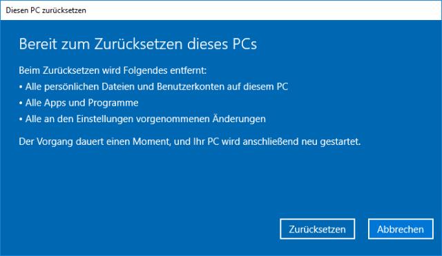 PC zurücksetzen