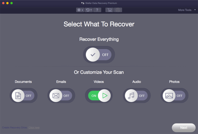 Zu wiederherstellenden Dateitypen auswählen