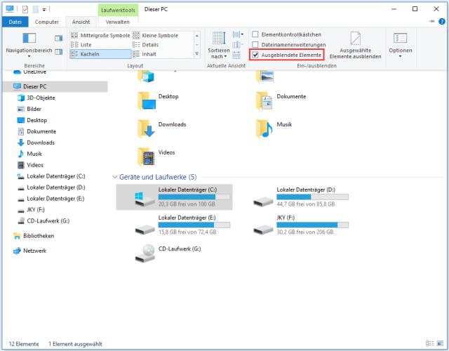 Ausgeblendete Dateien anzeigen