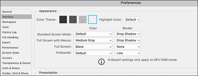 """Ein Beispiel für Photoshop """"Einstellungen"""" Fenster mit einem Lichtthema."""
